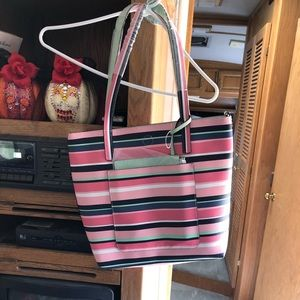 Stripped purse with smaller green pouch